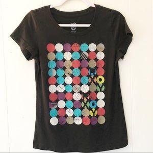 Roxy Black Circles Short Sleeve Graphic Tee XL